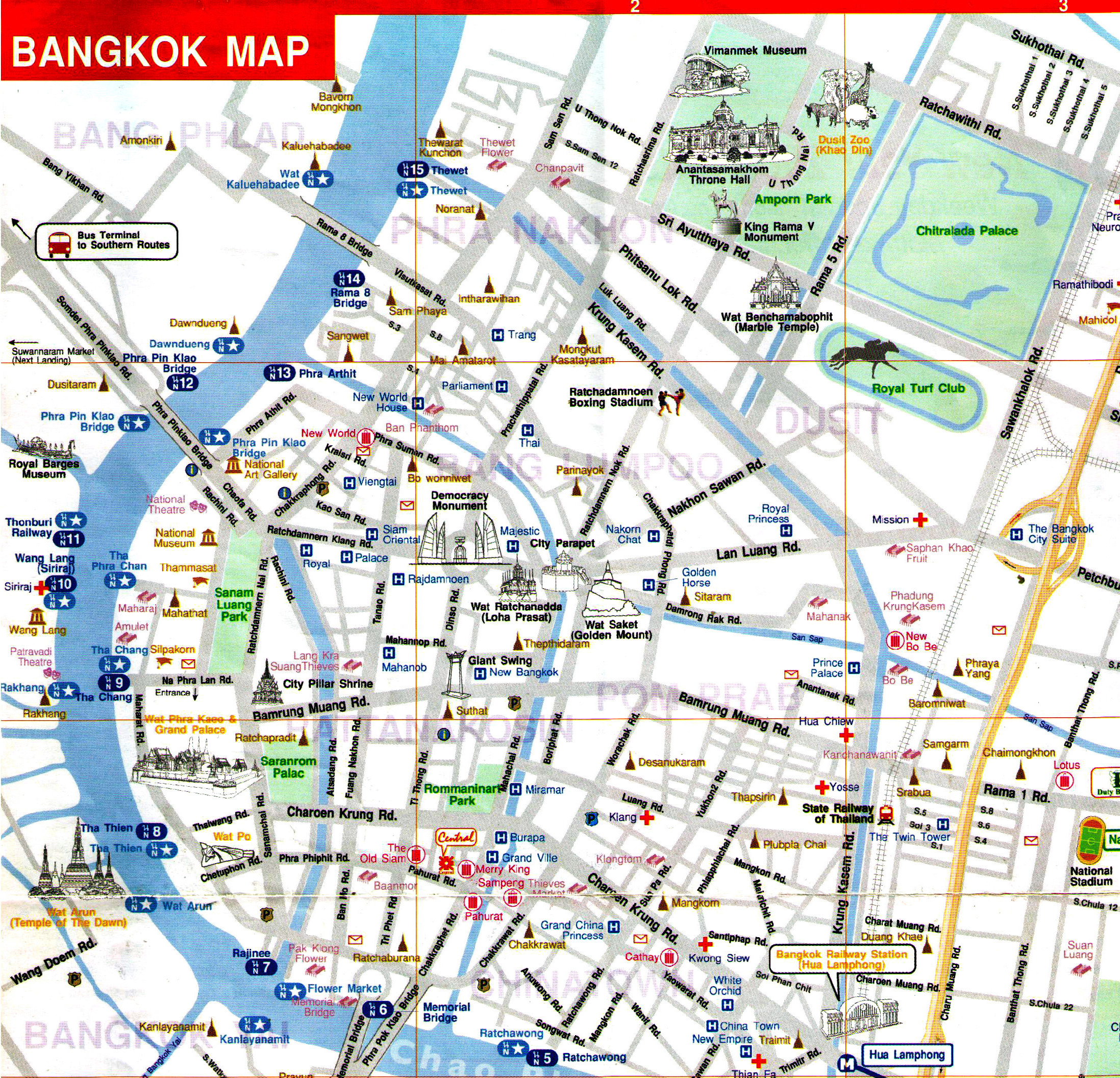 River Map Bangkok – Bangkok Tourist Attractions Map